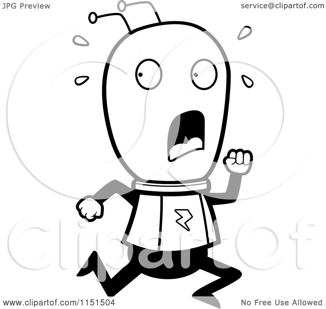 Cartoon Clipart Of A Black And White Scared Running Alien
