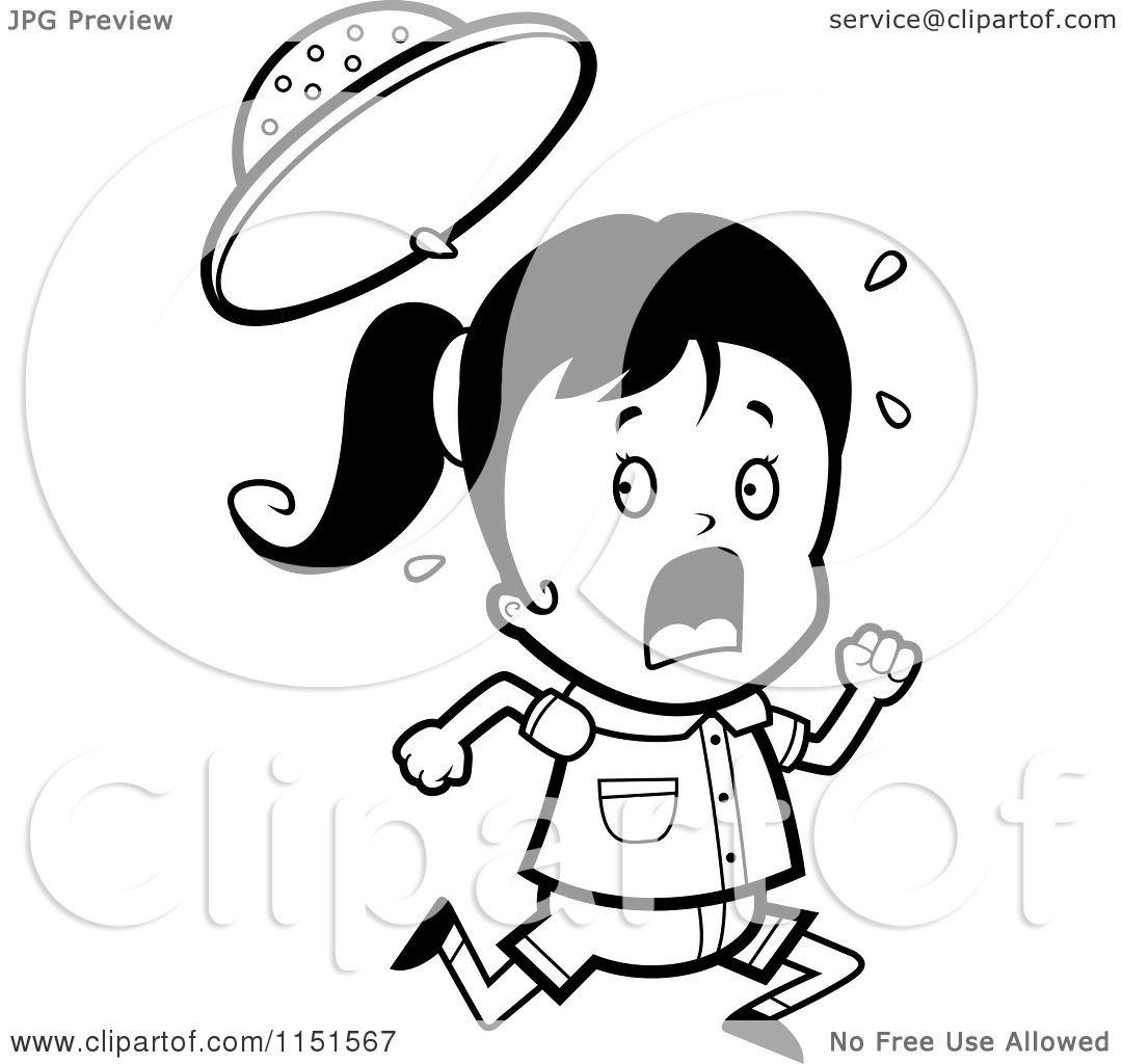 Cartoon Clipart Of A Black And White Scared Safari Girl