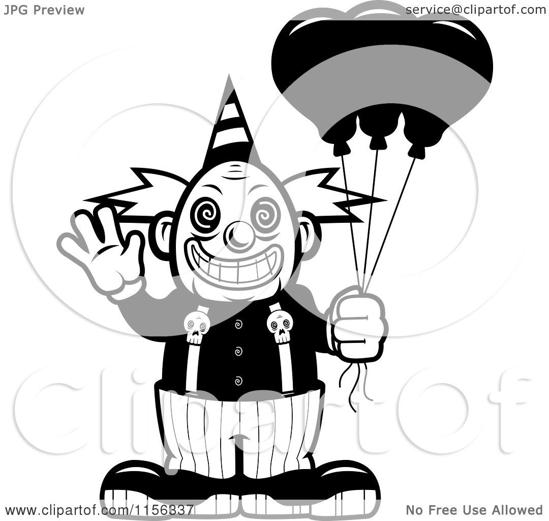Cartoon Clipart Of A Black And White Scary Clown Waving