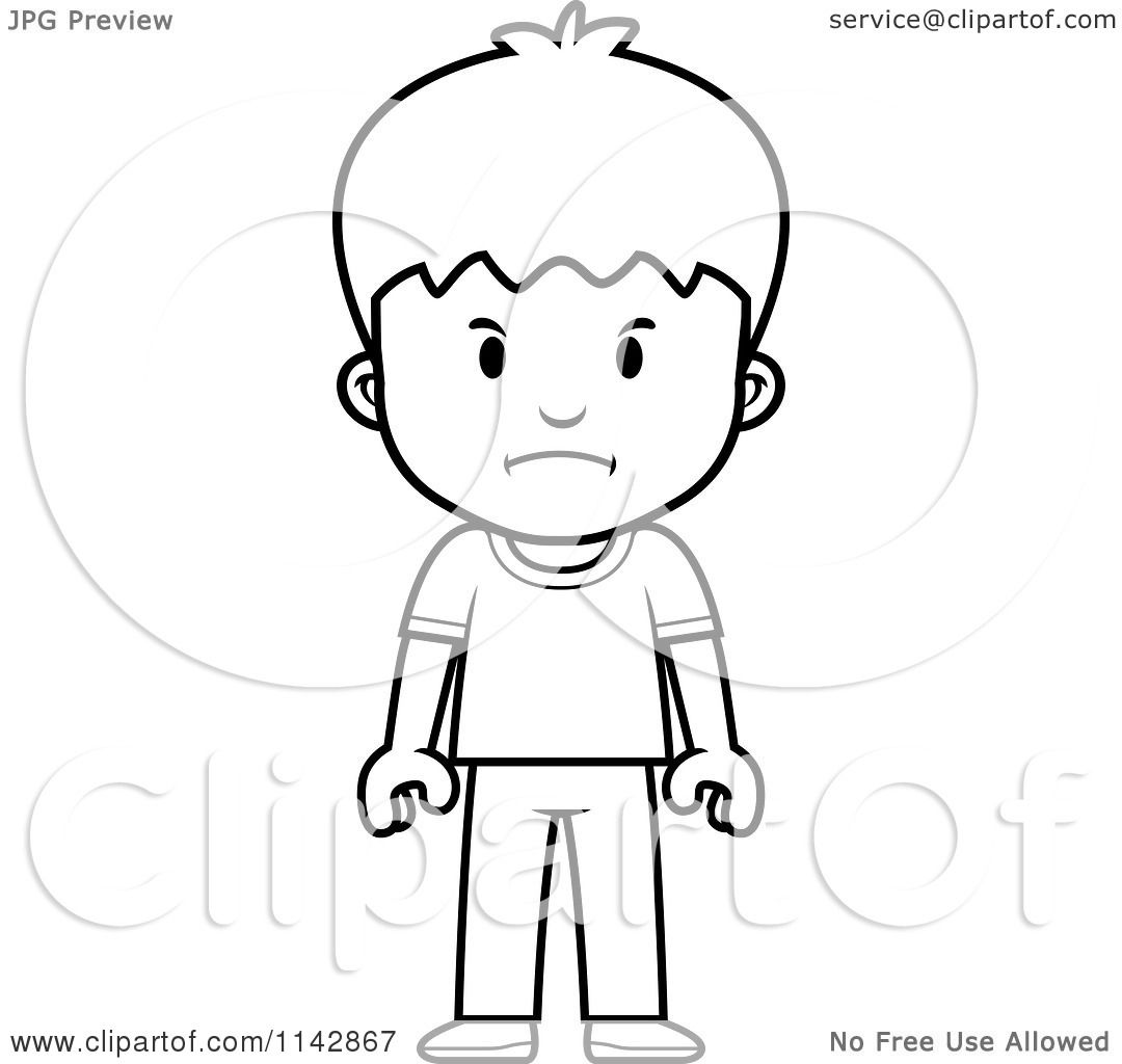 cartoon clipart of a black and white school boy with a mad