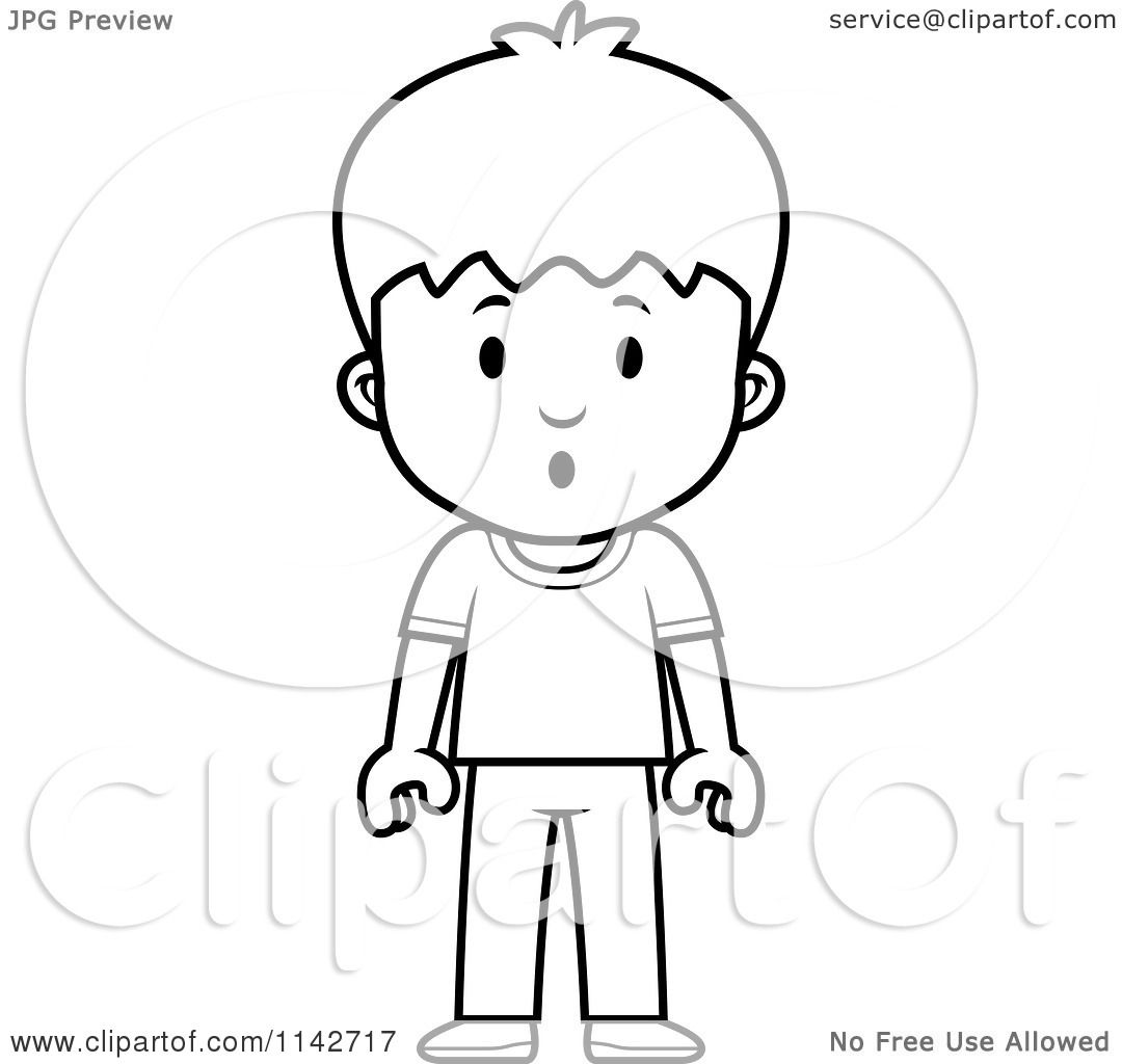 Cartoon Clipart Of A Black And White School Boy With A