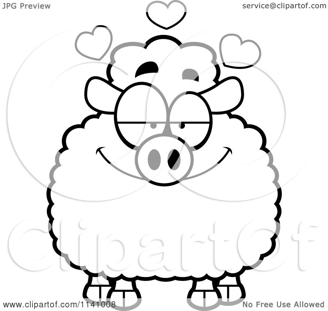 Cartoon Clipart Of A Black And White Sheep In Love