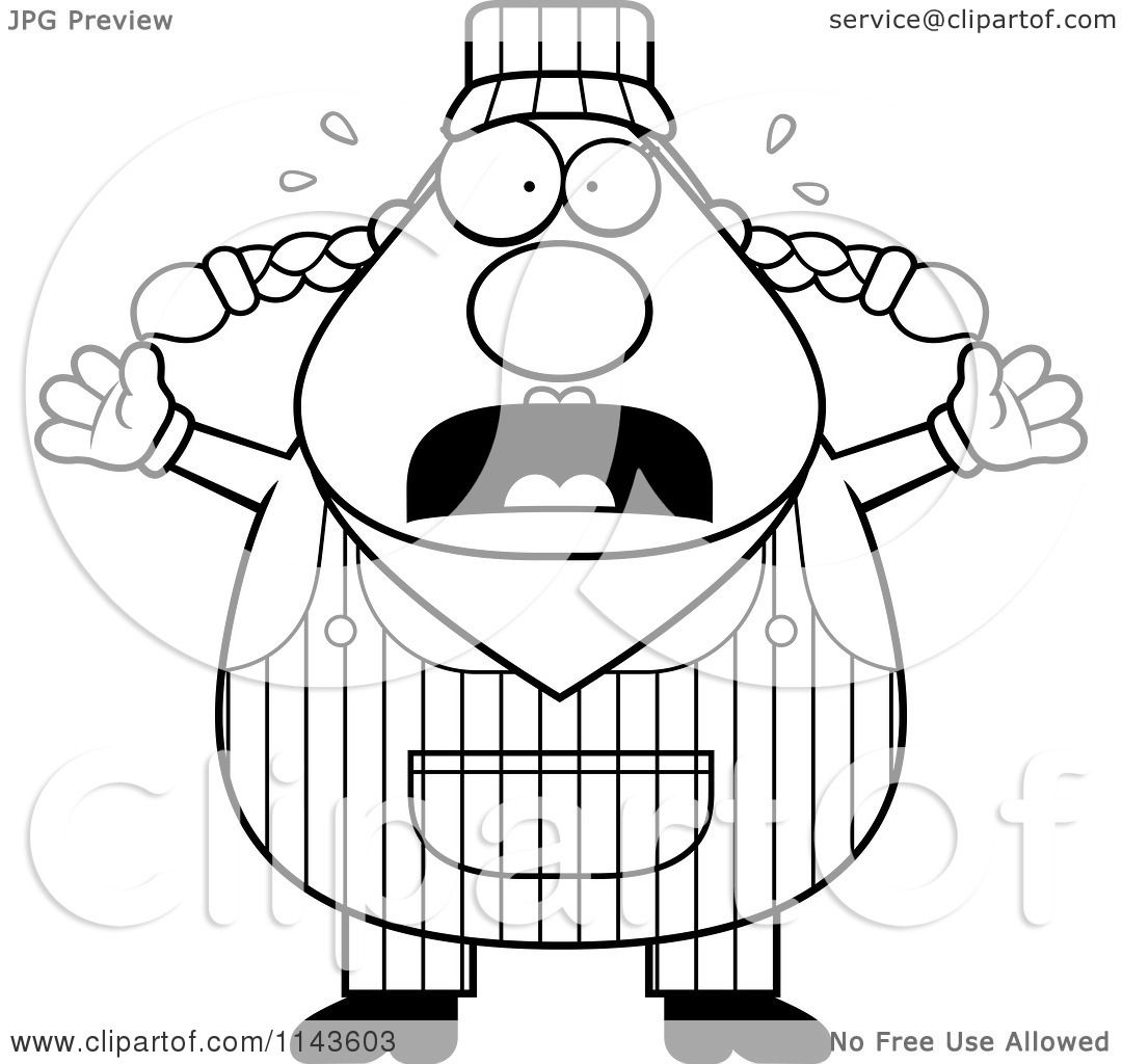 Cartoon Clipart Of A Black And White Stressed Female Train