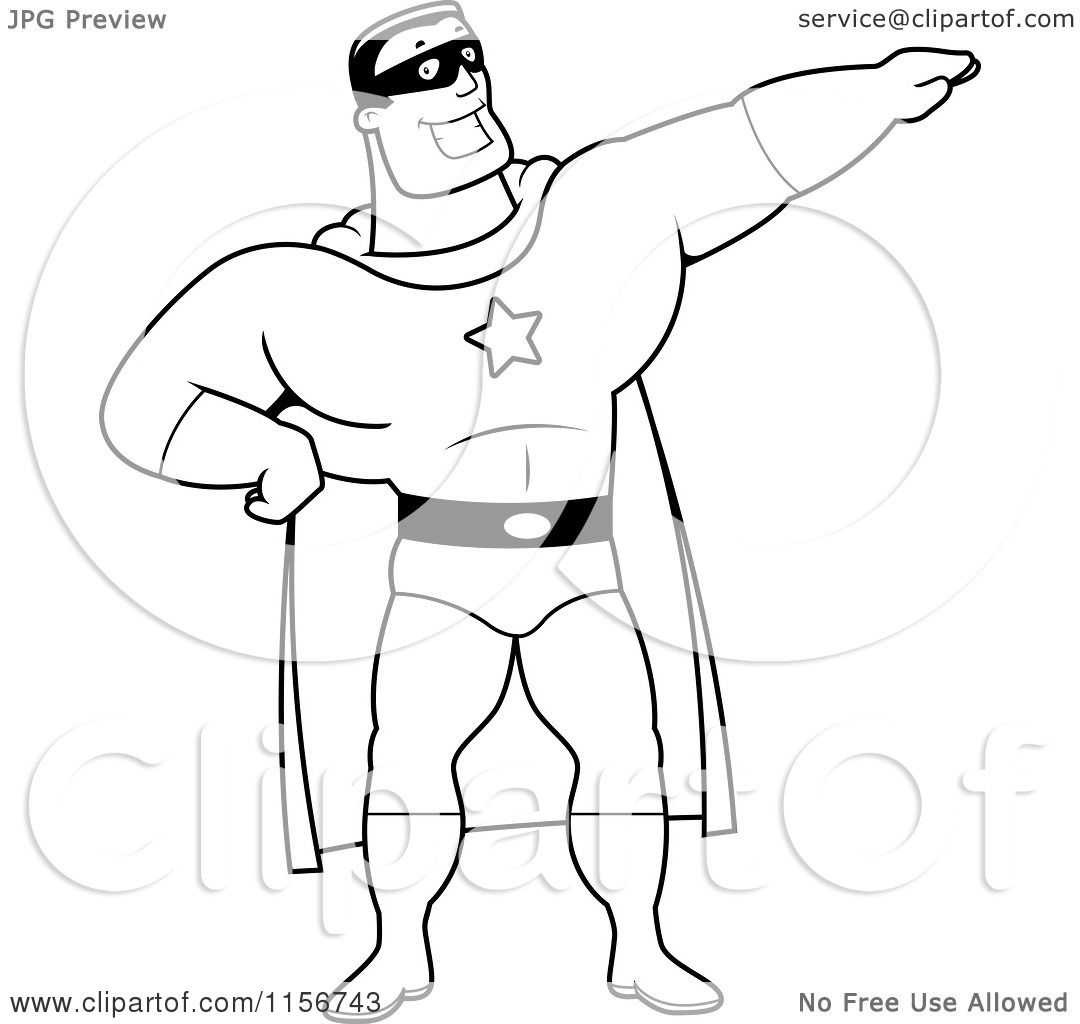 Cartoon Clipart Of A Black And White Super Hero Pointing