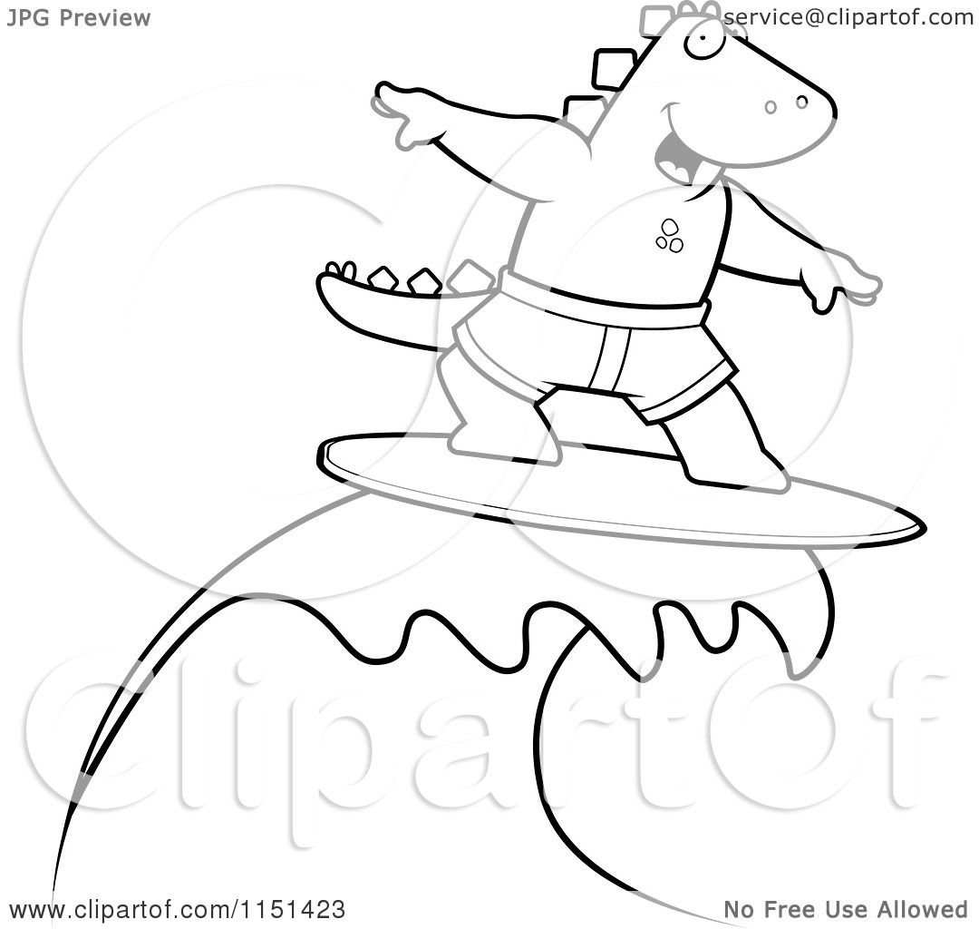 Cartoon Clipart Of A Black And White Surfing Dinosaur Riding A Wave