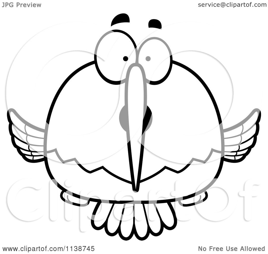 Cartoon Clipart Of A Black And White Surprised Hummingbird
