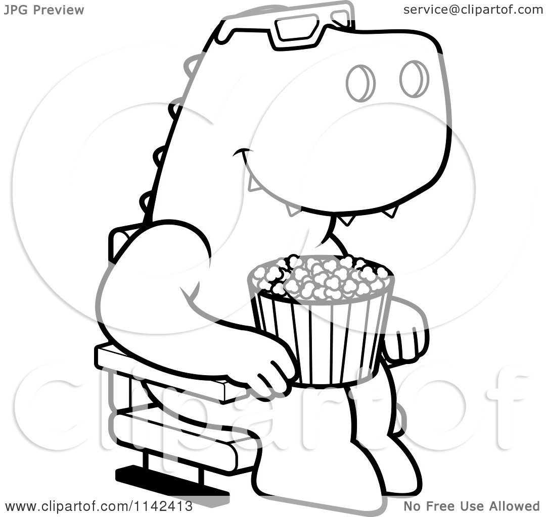 Cartoon Clipart Of A Black And White T Rex Eating Popcorn