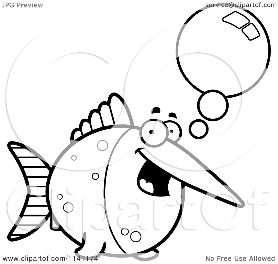 white talking swordfish vector outlined coloring page by cory thoman