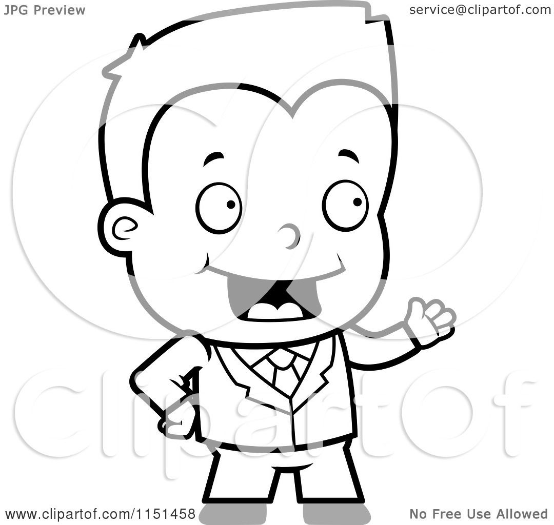 Cartoon Clipart Of A Black And White Toddler Businessman Presenting