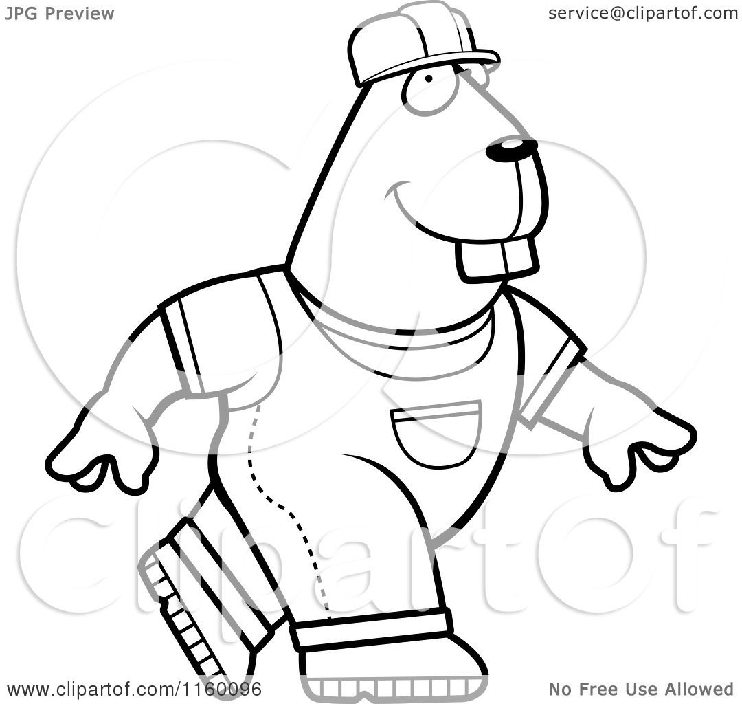 Cartoon Clipart Of A Black And White Walking Builder