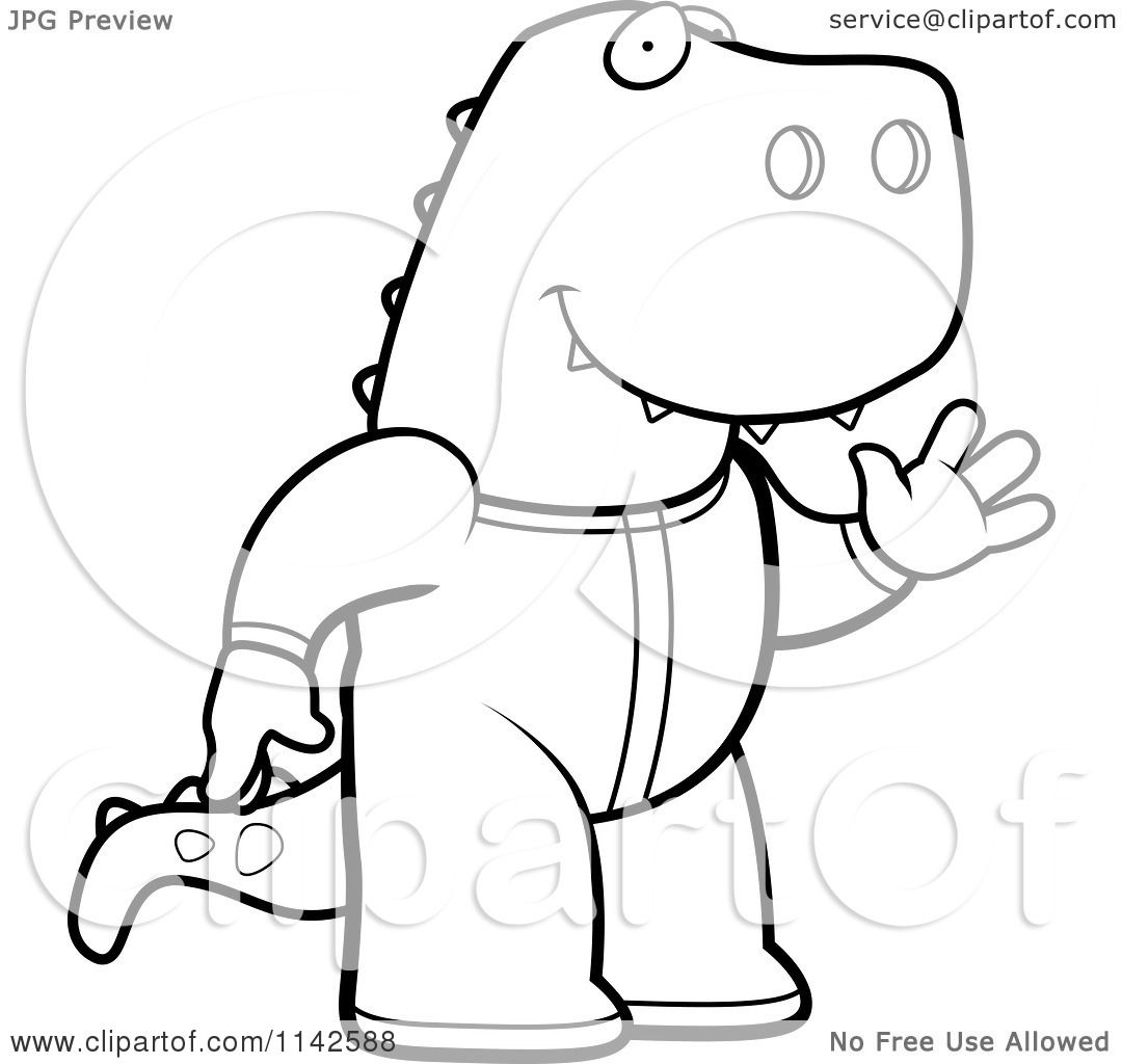 Cartoon Clipart Of A Black And White Waving T Rex In Footie Pajamas