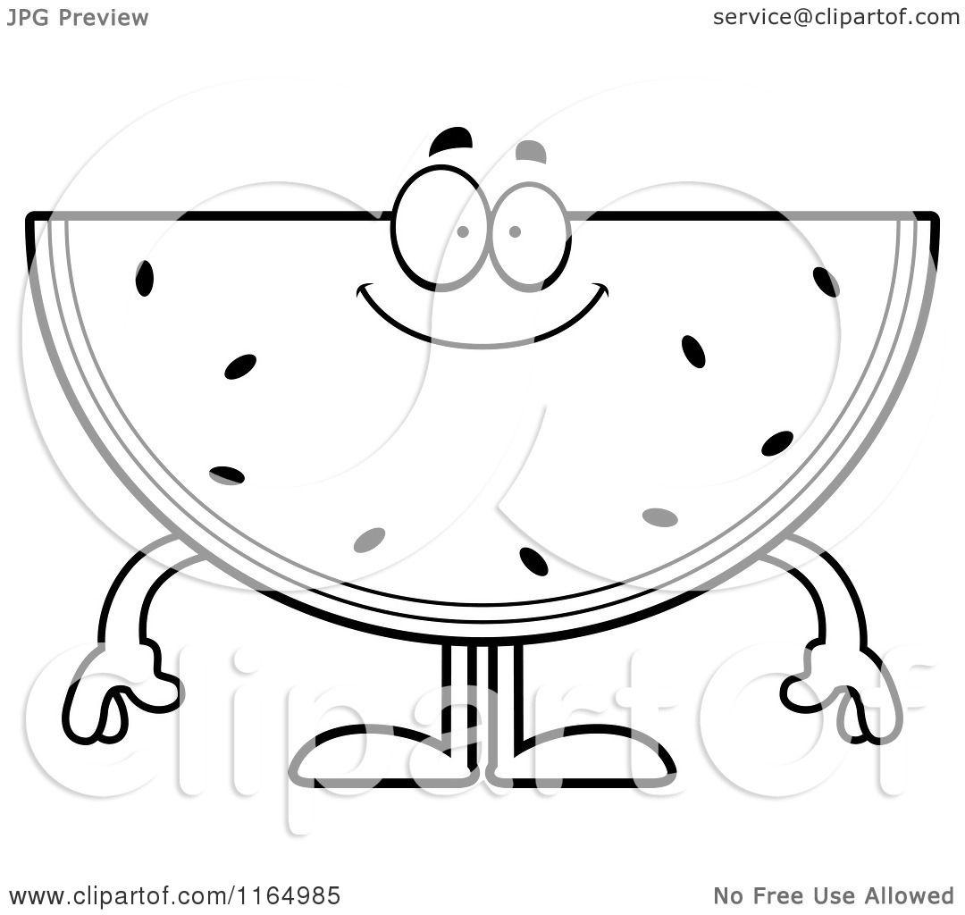 Cartoon Clipart Of A Happy Watermelon Mascot