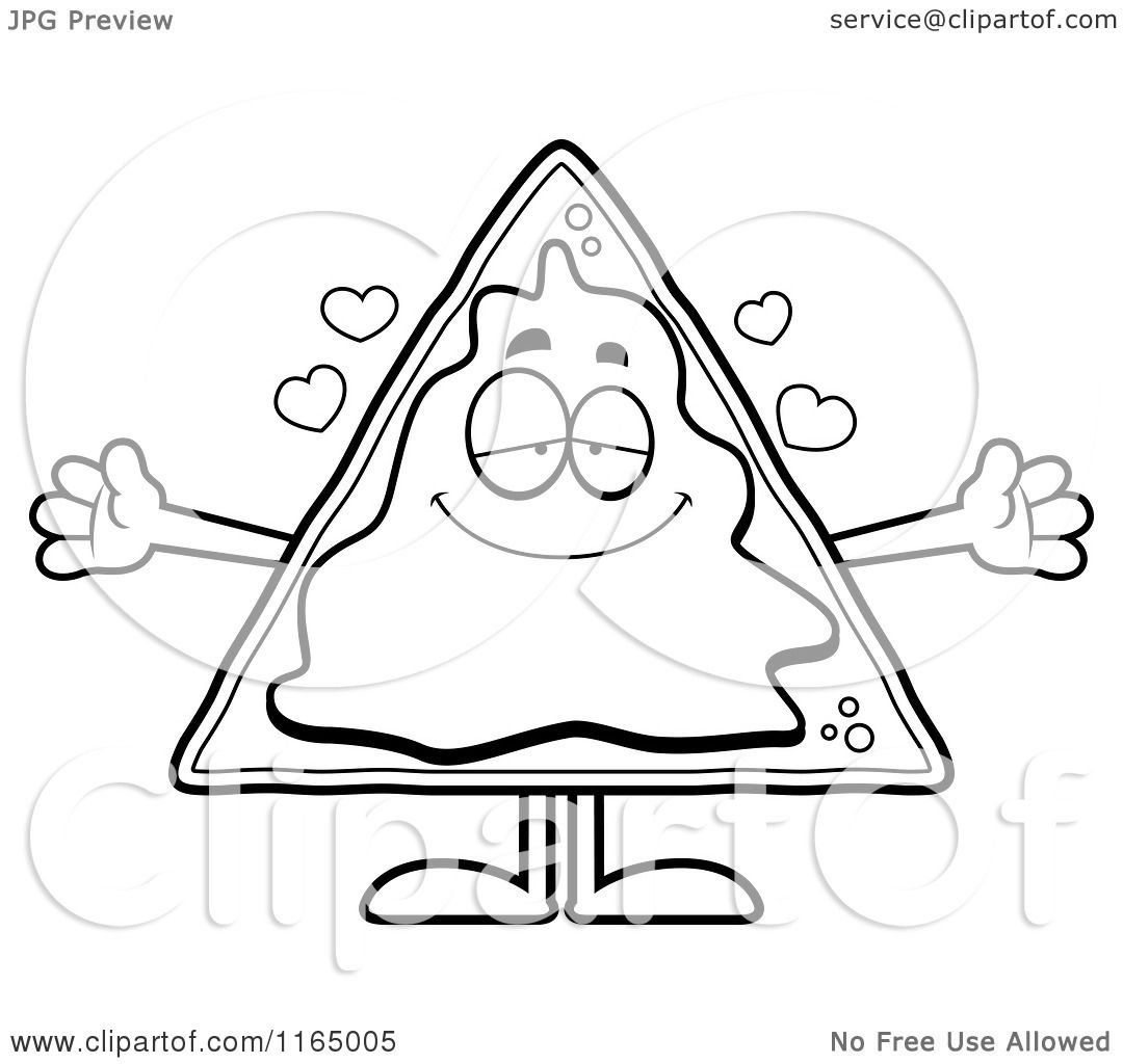 Cartoon Clipart Of A Loving Nacho Mascot