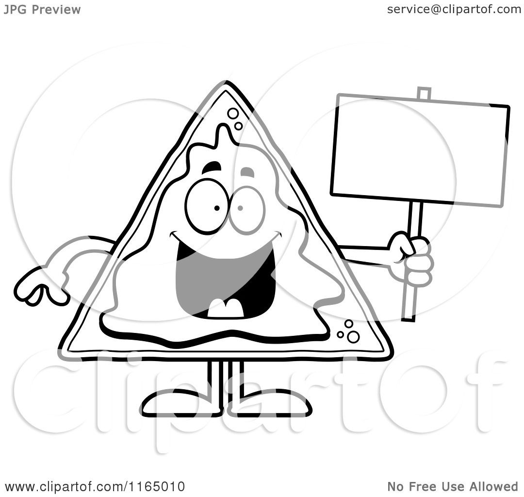 Cartoon Clipart Of A Nacho Mascot Holding A Sign