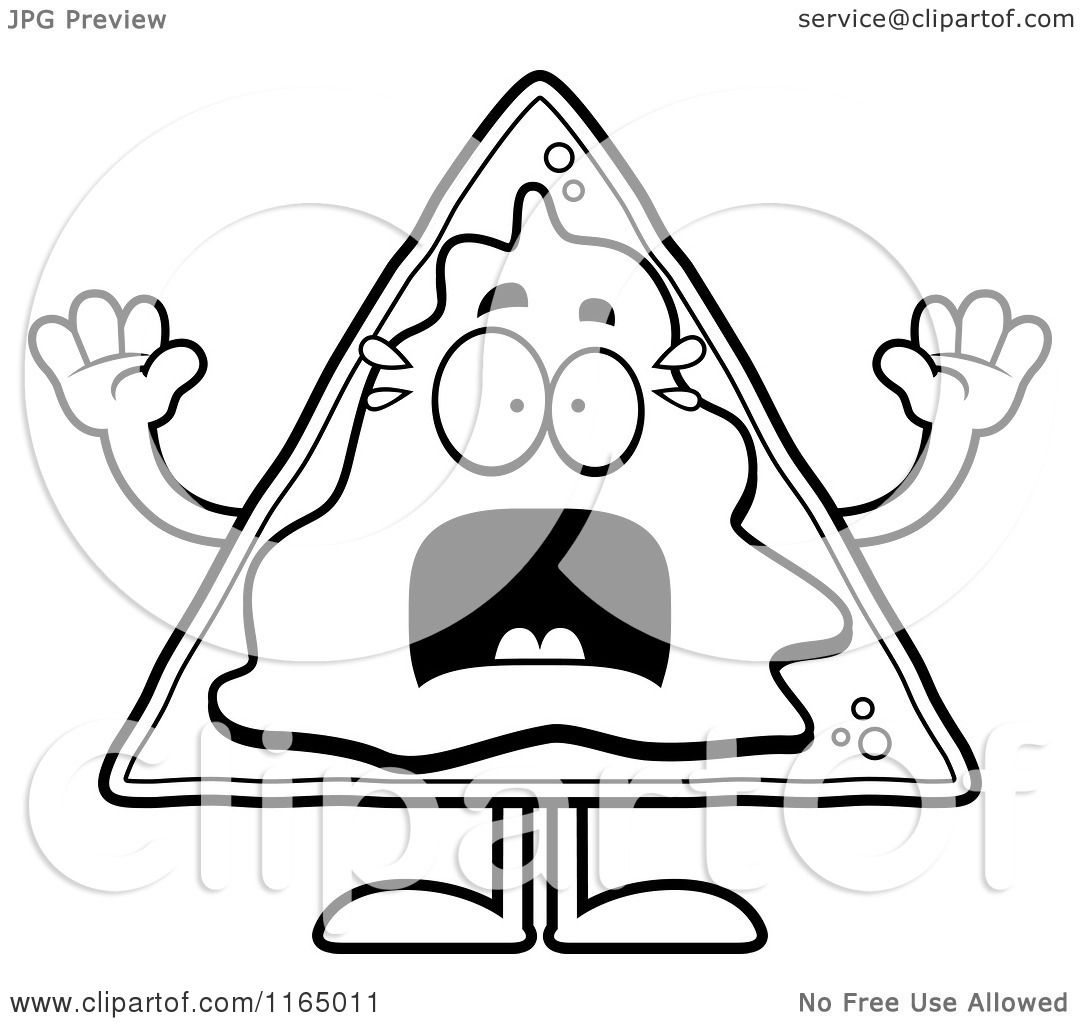 Cartoon Clipart Of A Scared Nacho Mascot