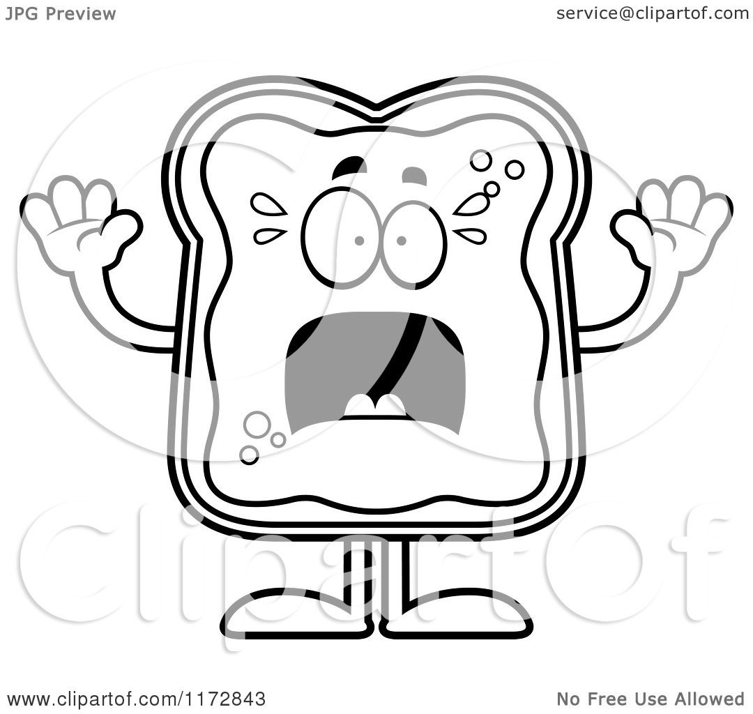 Cartoon Clipart Of A Screaming Toast And Jam Mascot