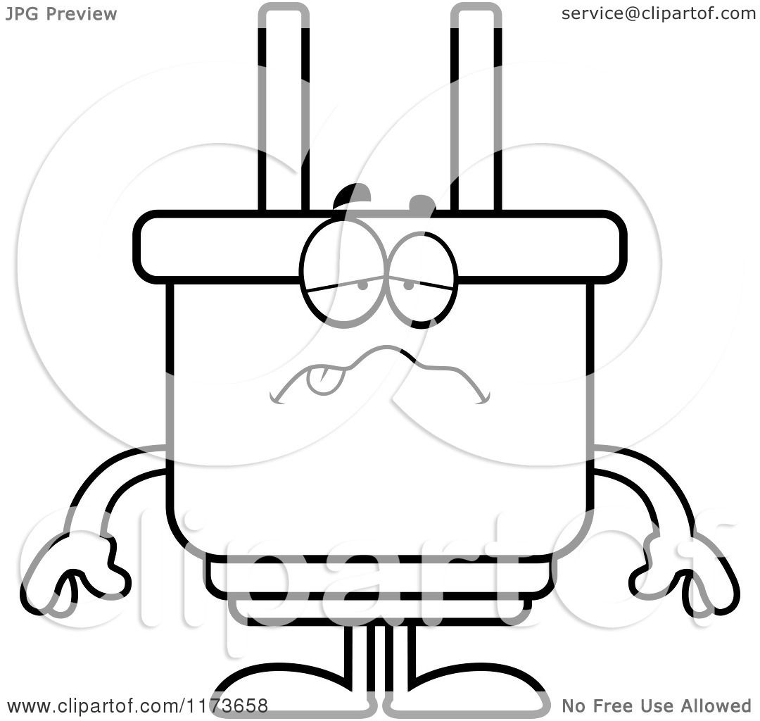 Cartoon Clipart Of A Sick Electric Plug Mascot