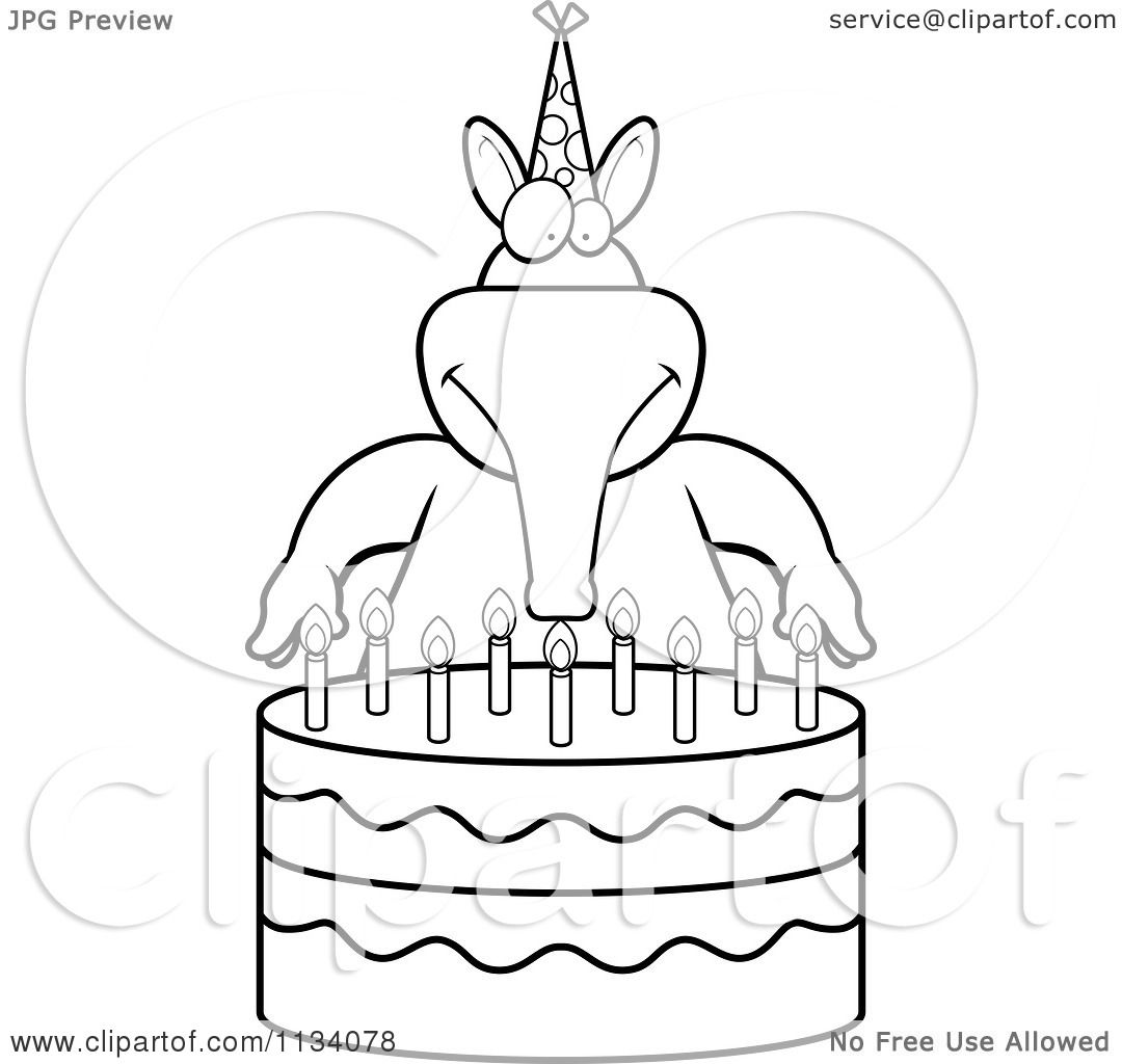 Cartoon Clipart Of An Outlined Aardvark Making A Wish Over