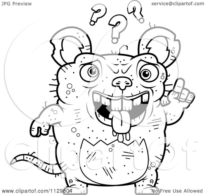 cartoon clipart of an outlined confused ugly rat  black