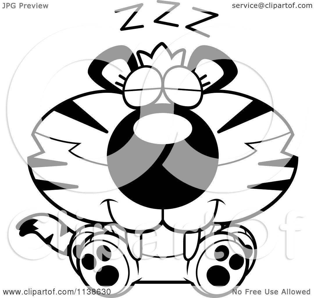 Cartoon Clipart Of An Outlined Cute Sleeping Tiger Cub