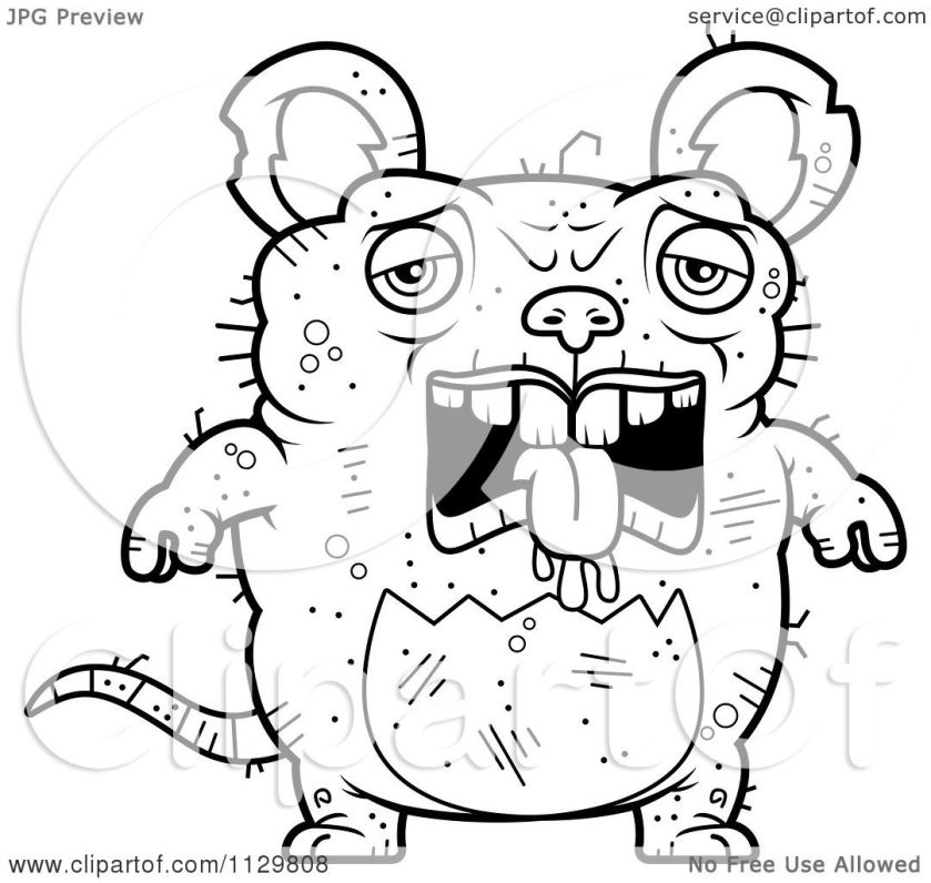 cartoon clipart of an outlined depressed ugly rat  black