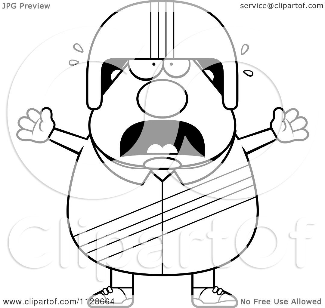 Cartoon Clipart Of An Outlined Frightened Race Car Driver
