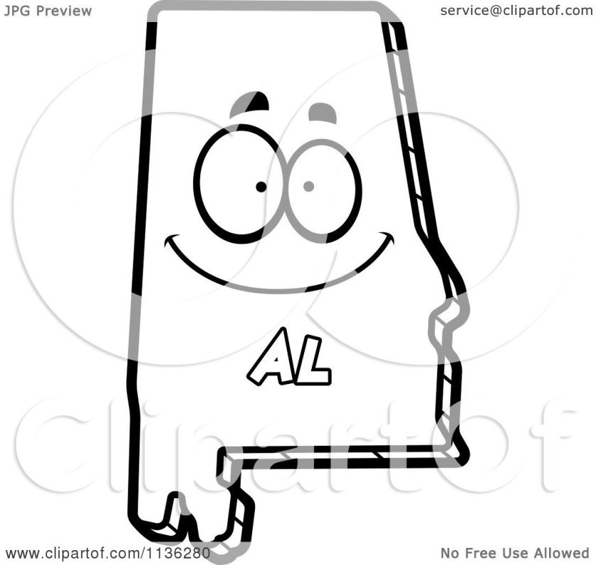 cartoon clipart of an outlined happy alabama state