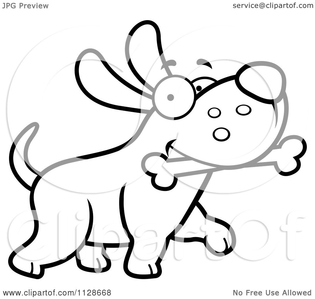 Cartoon Clipart Of An Outlined Happy Dog Strutting With A