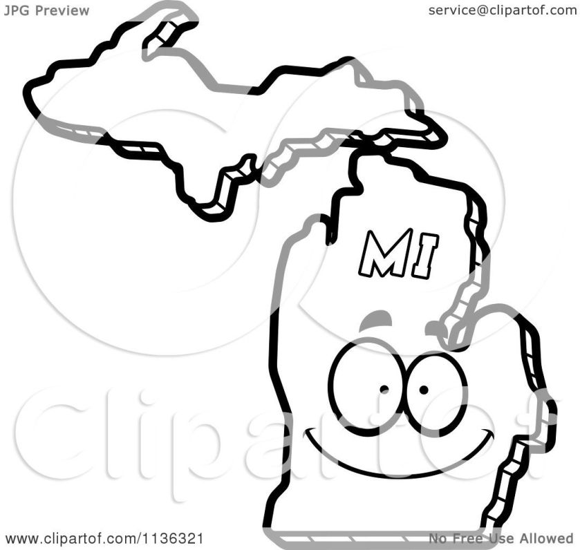 cartoon clipart of an outlined happy michigan state