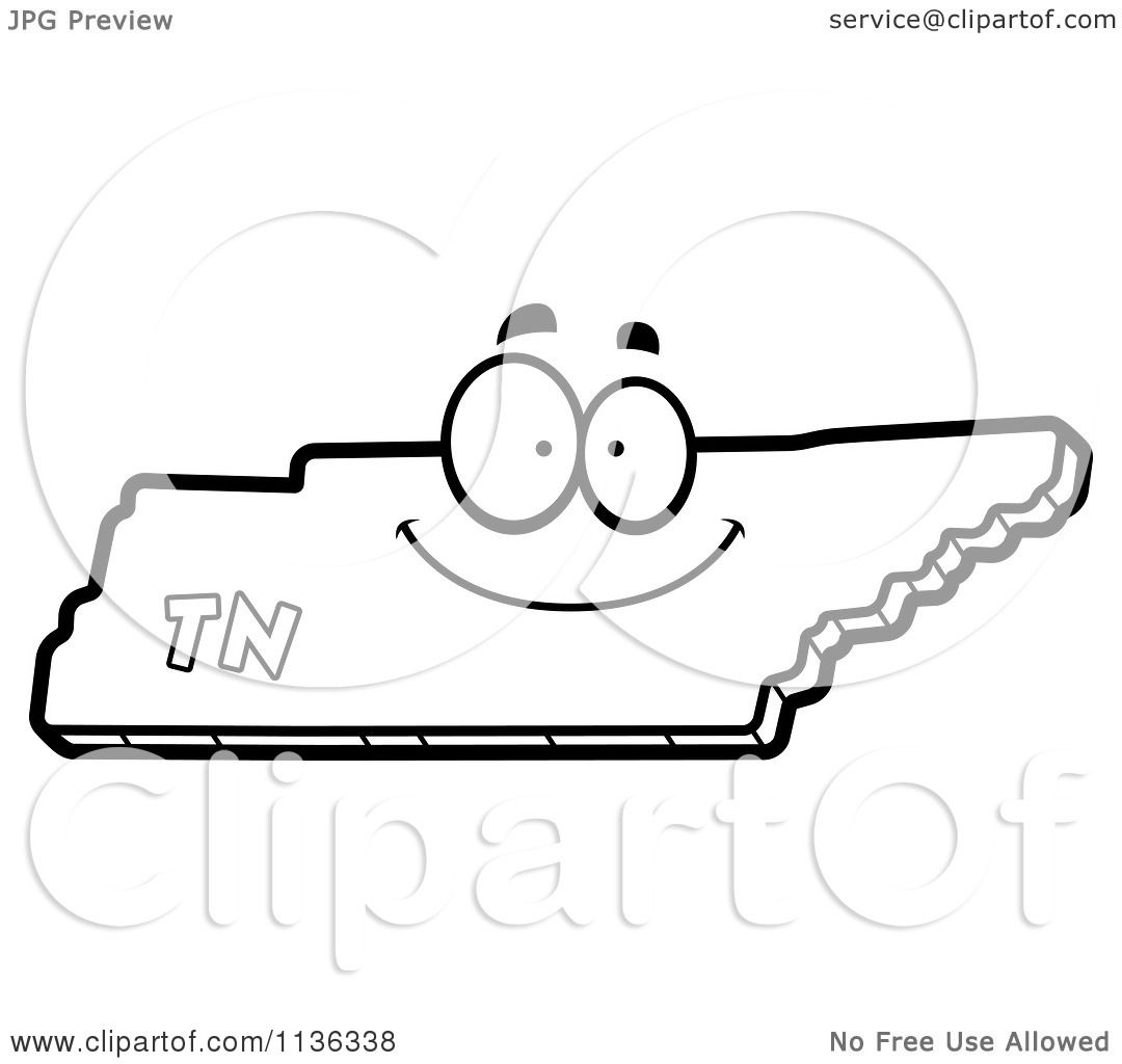 Cartoon Clipart Of An Outlined Happy Tennessee State Character