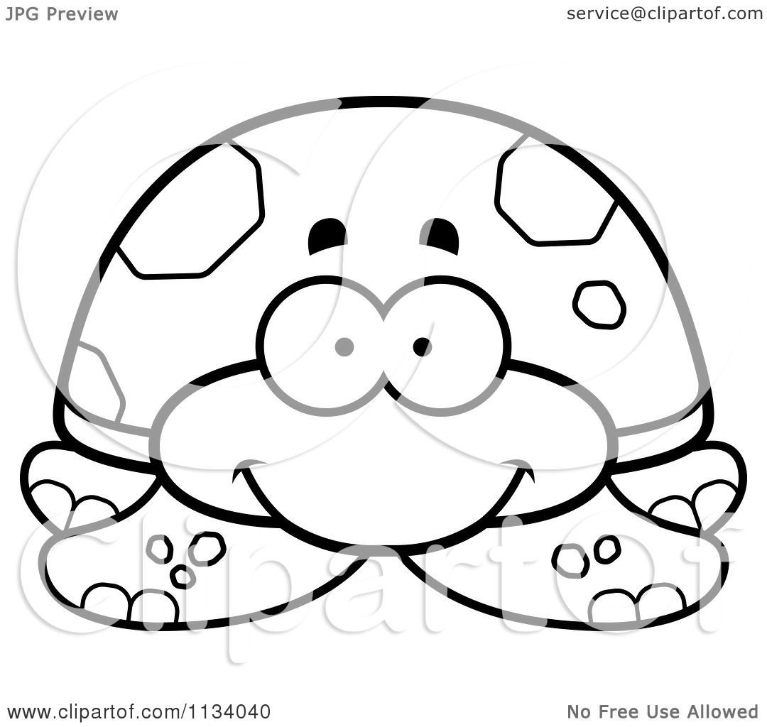 Cartoon Clipart Of An Outlined Happy Tortoise Turtle