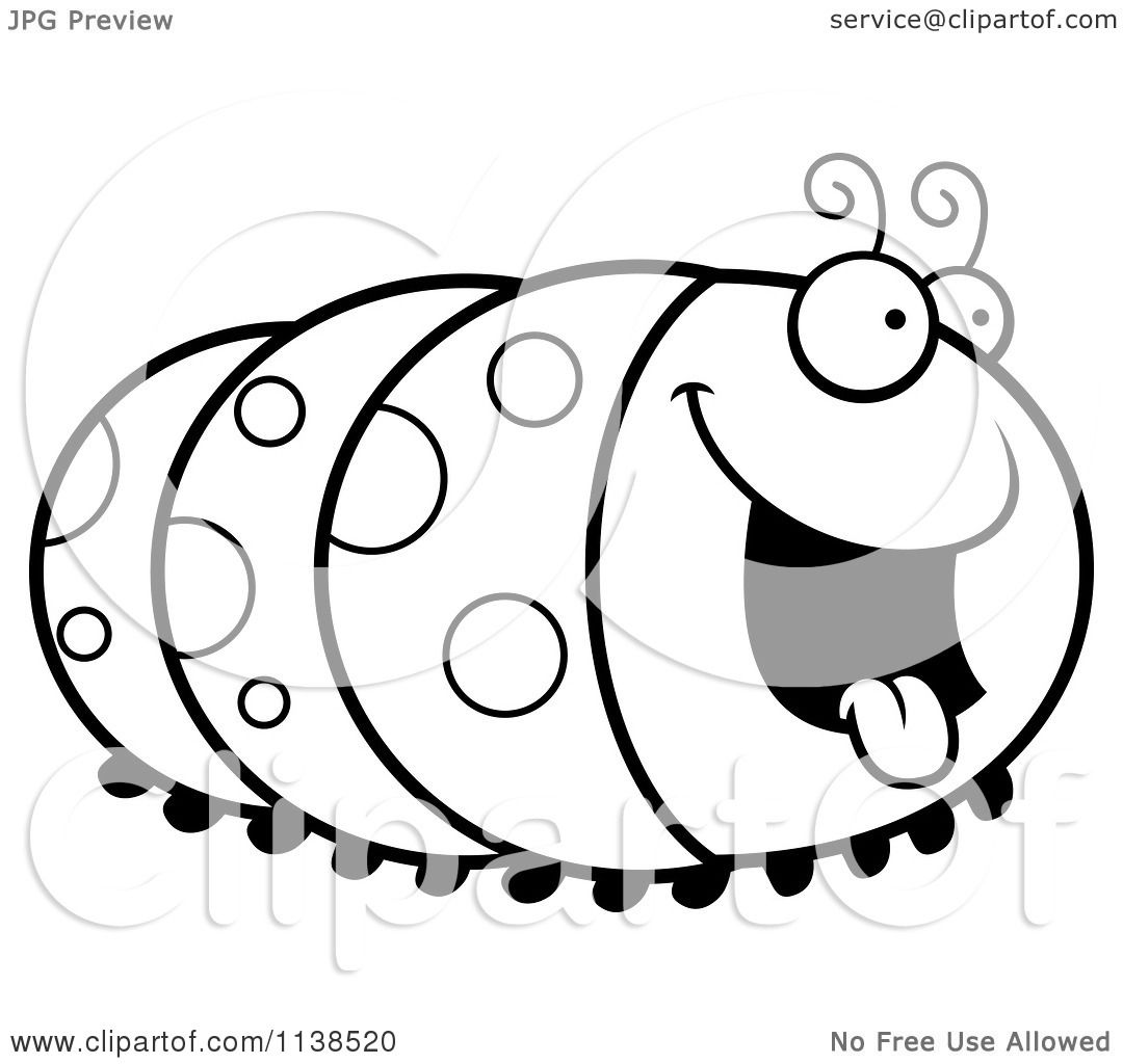Cartoon Clipart Of An Outlined Hungry Caterpillar