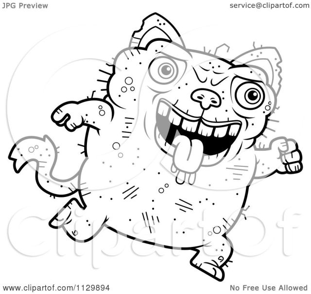 Cartoon Clipart Of An Outlined Running Ugly Cat - Black And White