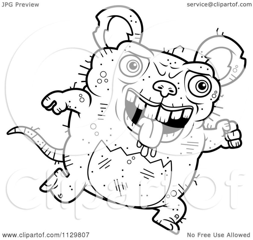 cartoon clipart of an outlined running ugly rat  black