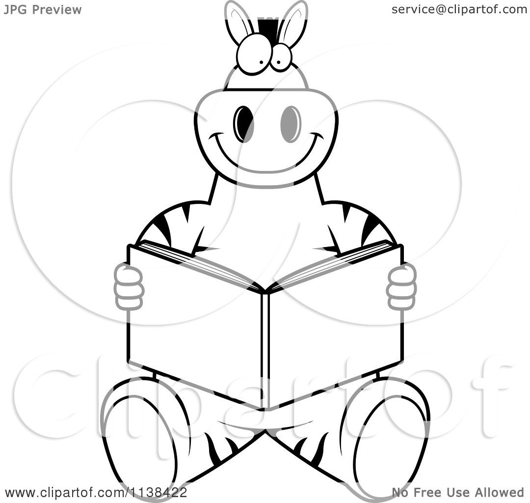 Cartoon Clipart Of An Outlined Zebra Sitting And Reading