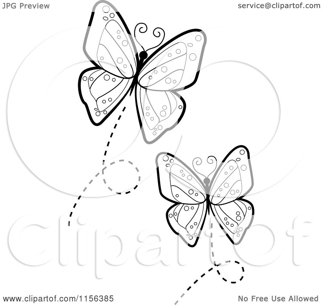 Cartoon Clipart Of Black And White Flying Butterflies