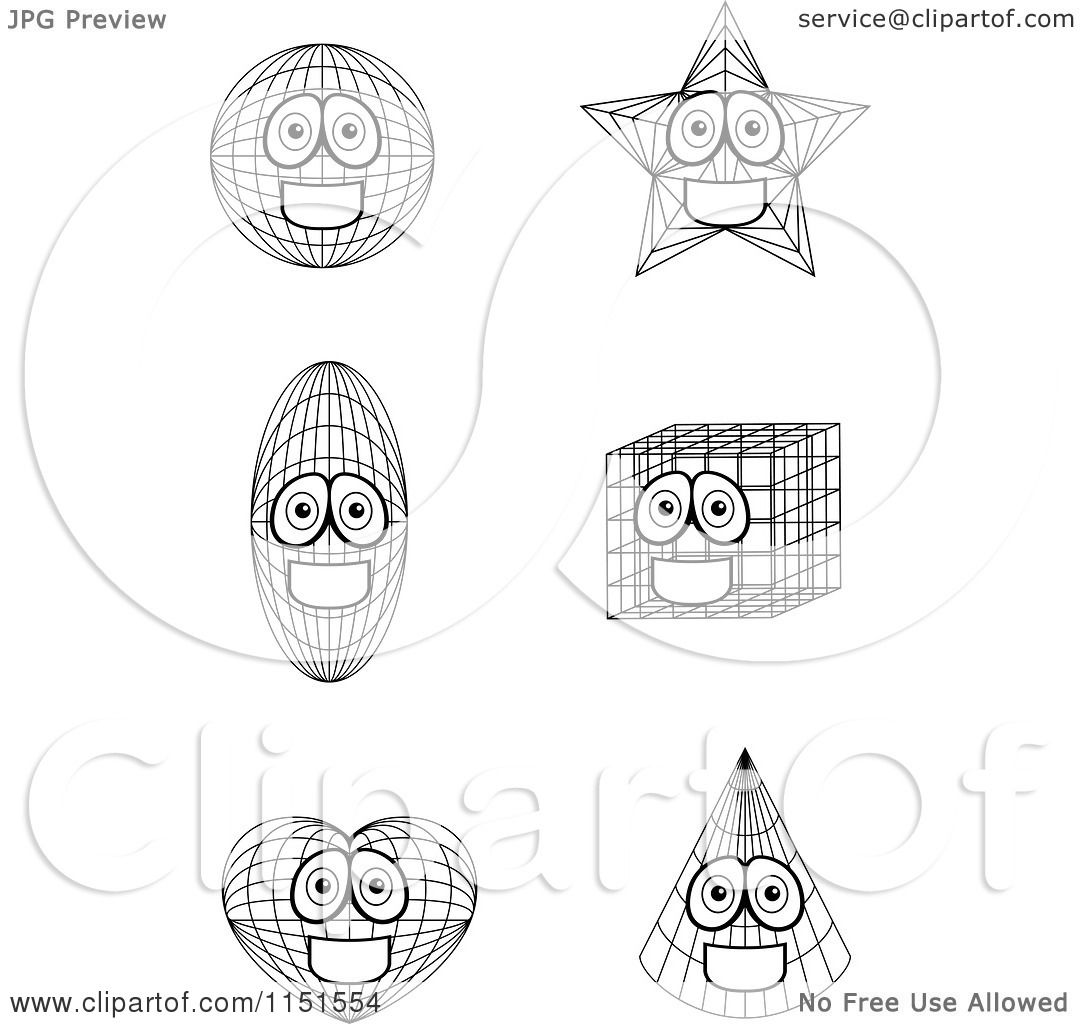 Cartoon Clipart Of Black And White Shape Mascots
