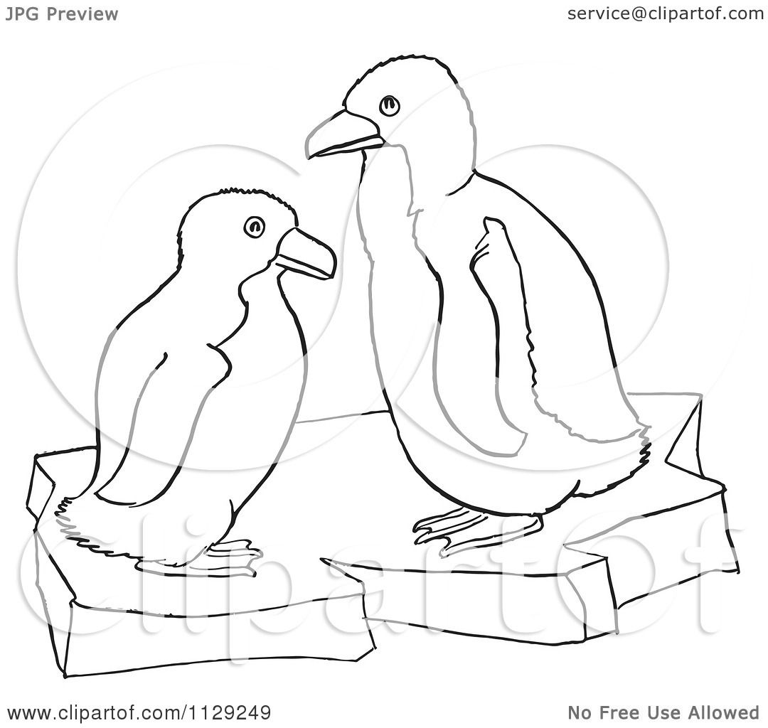 Cartoon Clipart Of Outlined Cute Baby Penguins On Ice