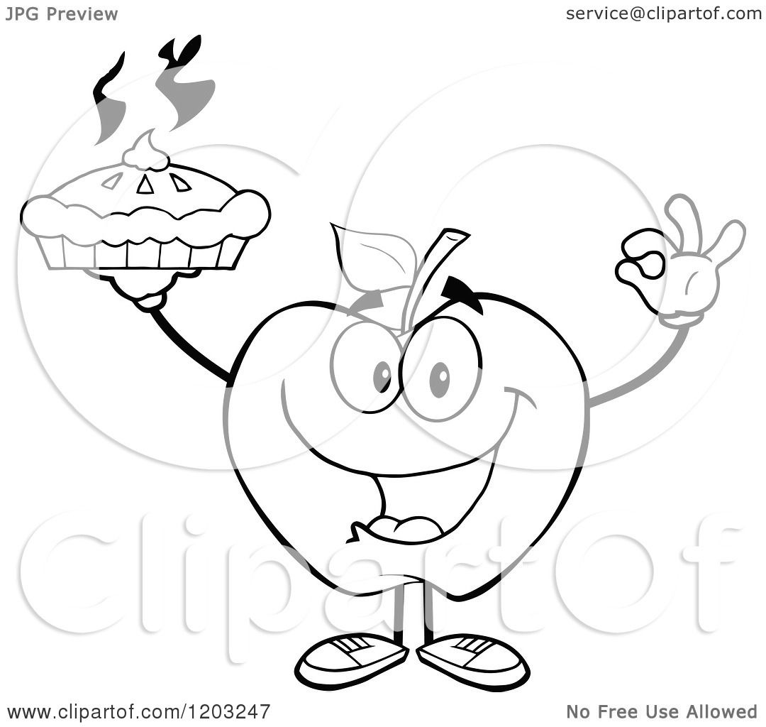 Cartoon Of A Black And White Apple Character Holding A Pie