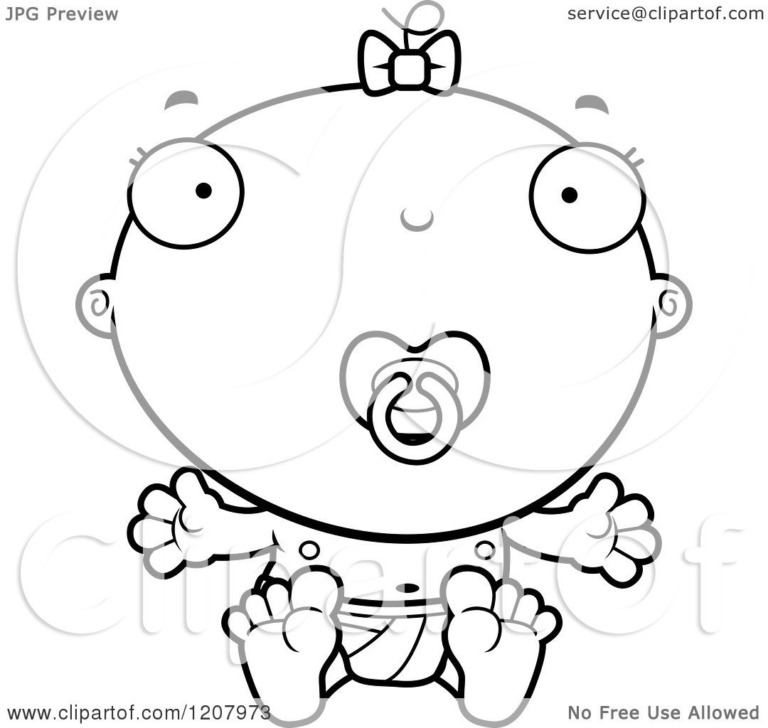 Cartoon Of A Black And White Baby Infant Girl With A Pacifier