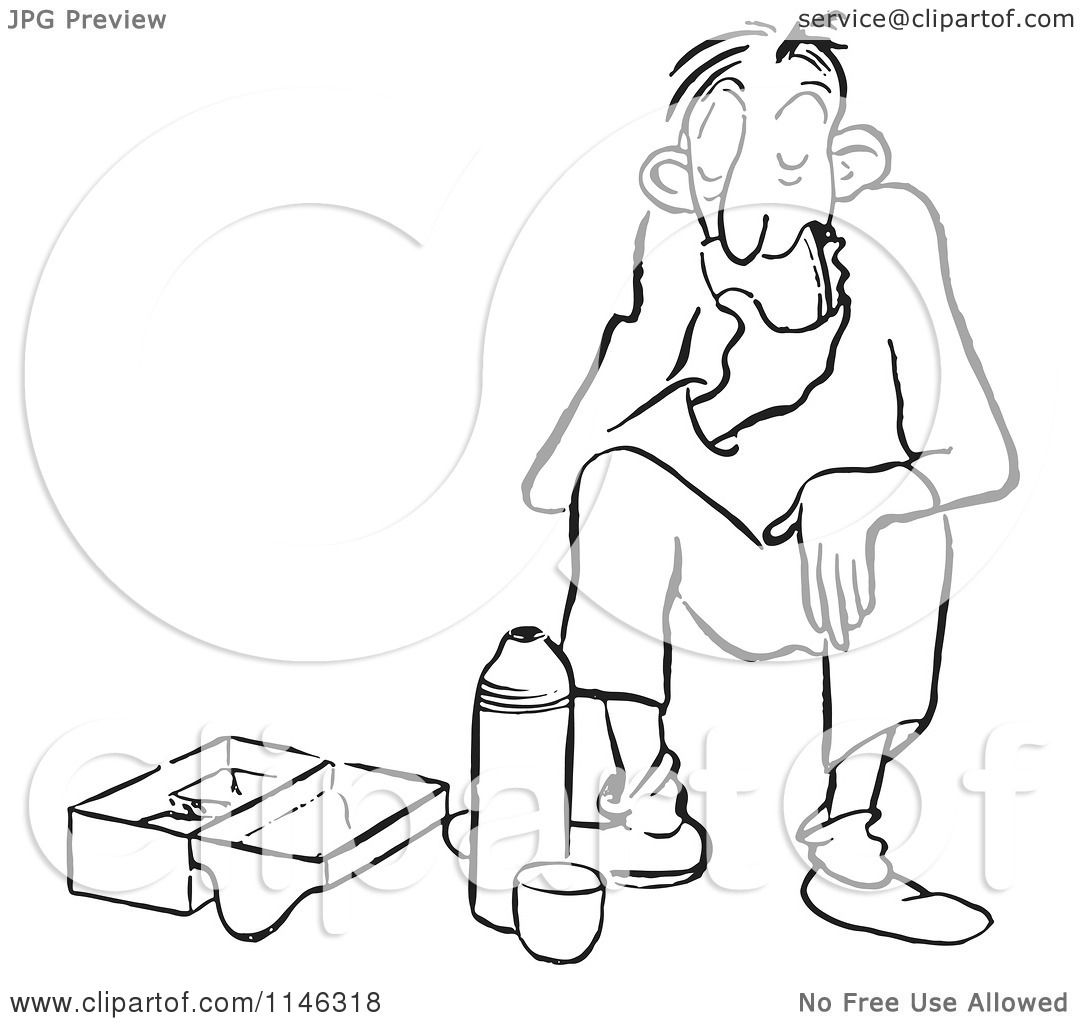 Cartoon Of A Black And White Bored Man Eating His Lunch
