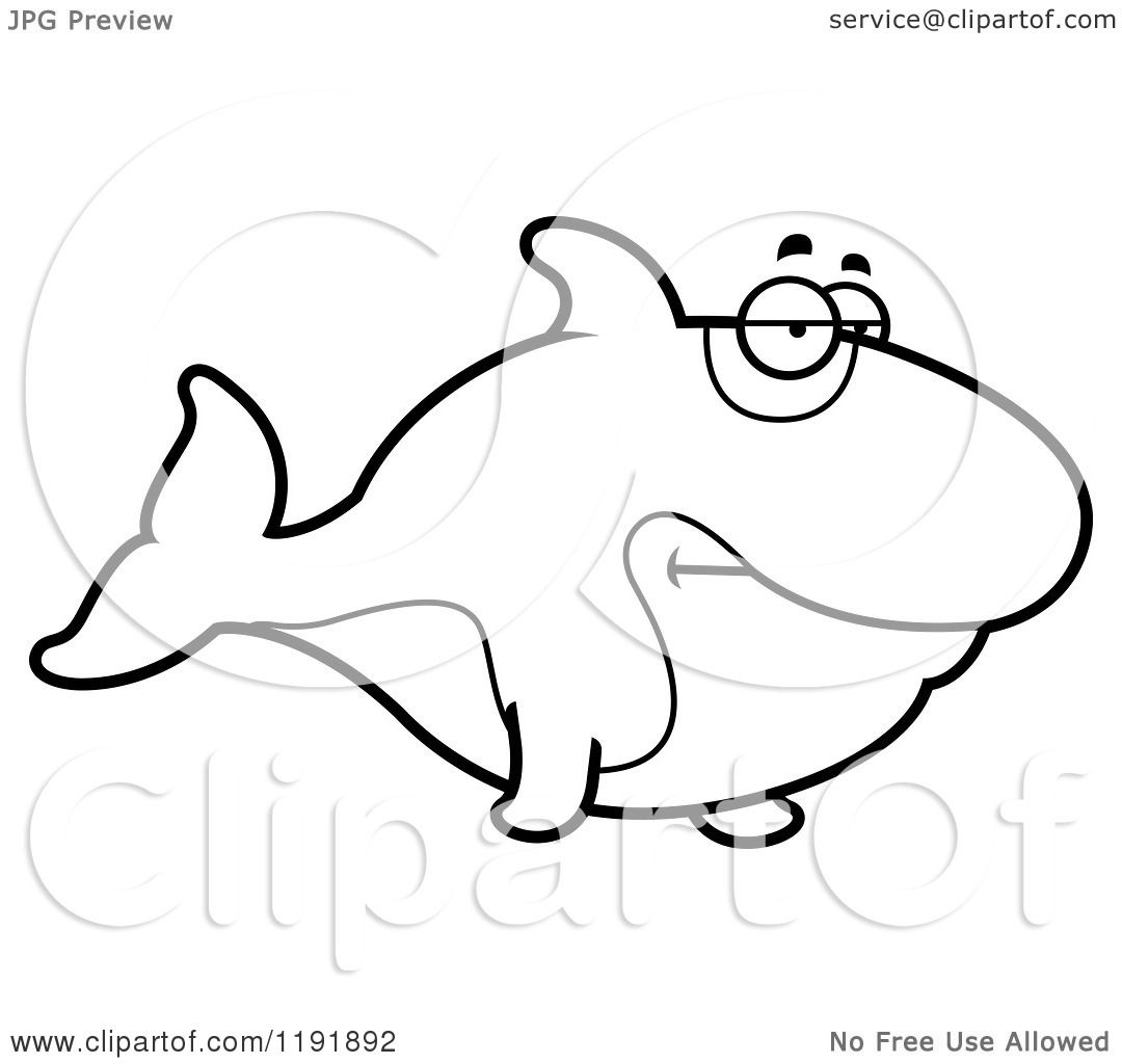 Cartoon Of A Black And White Bored Orca Killer Whale