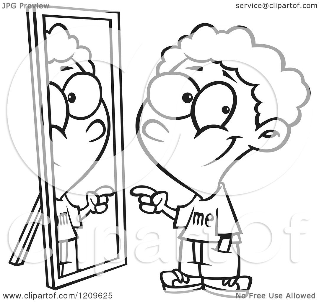 Person Looking In Mirror