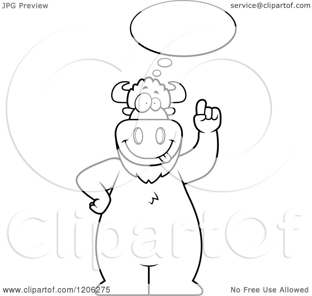 Cartoon Of A Black And White Buffalo With An Idea