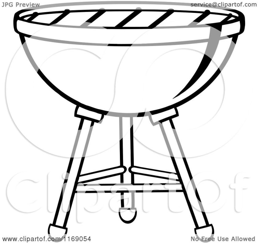cartoon of a black and white charcoal bbq grill  royalty