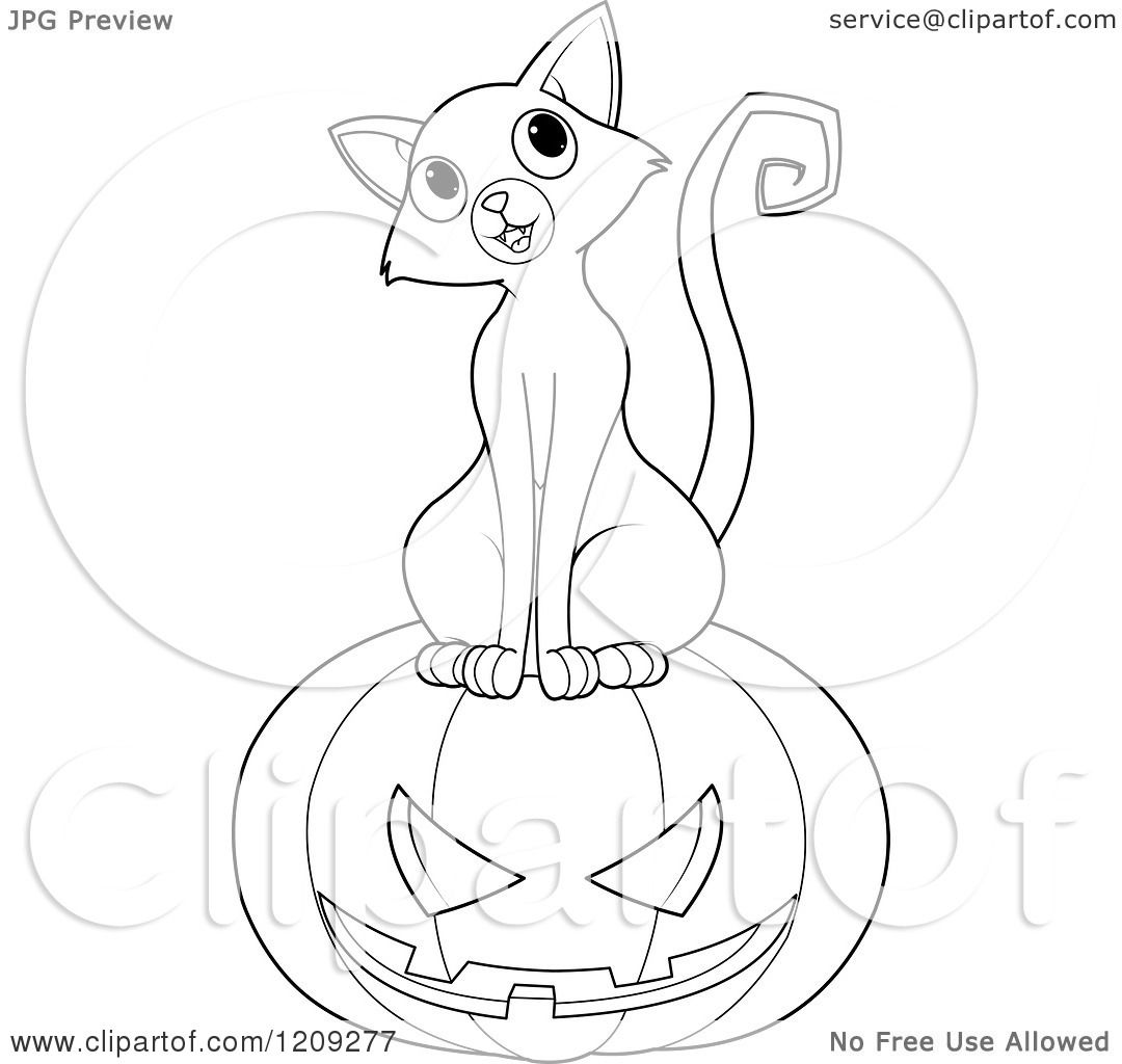 Cartoon Of A Black And White Curious Cat Sitting On A Halloween Jackolantern Pumpkin