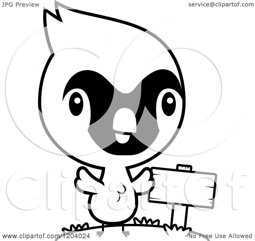 Cartoon Of A Black And White Cute Baby Cardinal Bird By A Sign Post