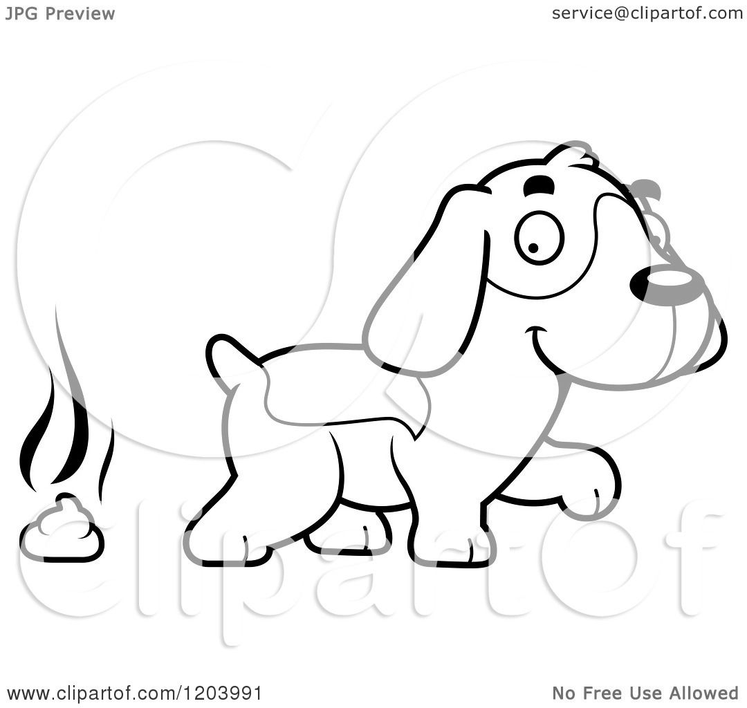 Cartoon Of A Black And White Cute Beagle Puppy And Fresh