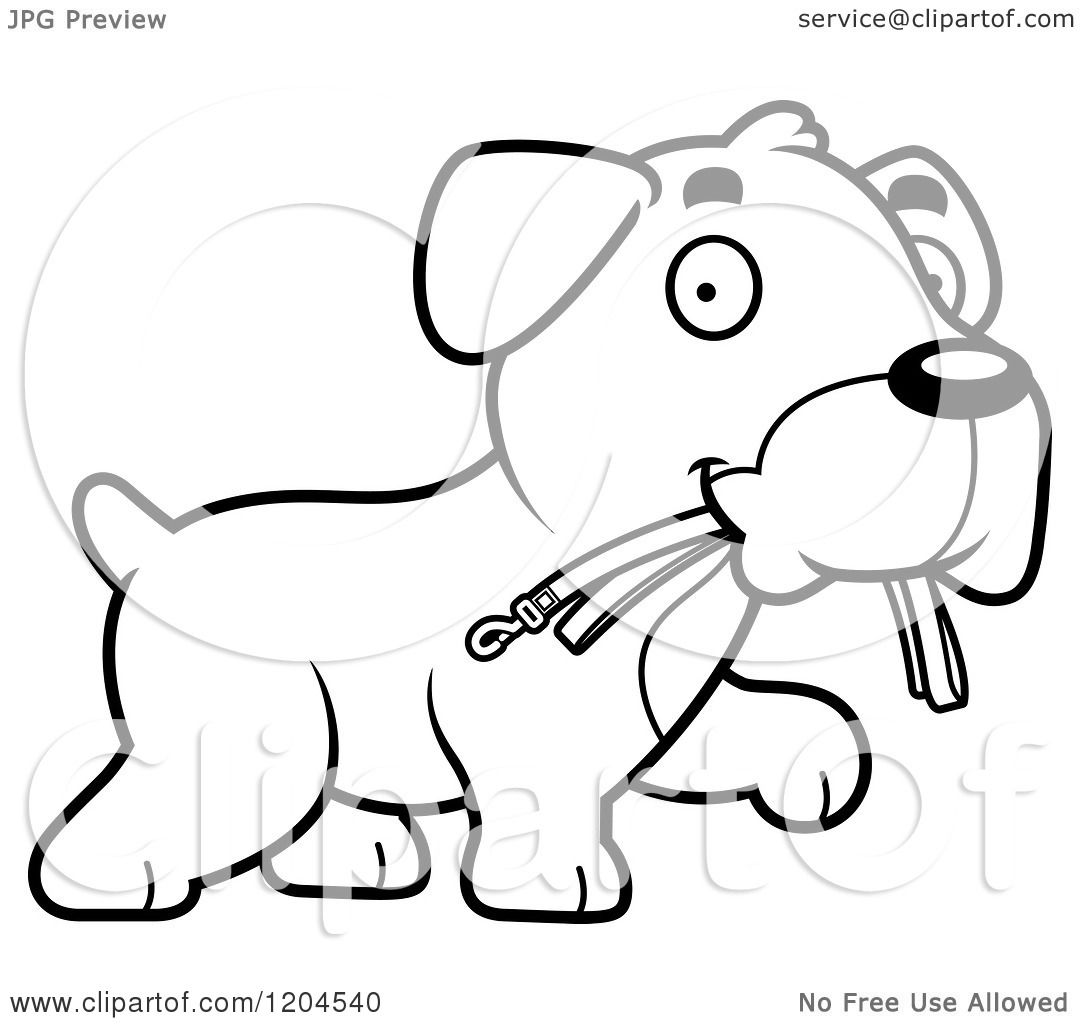 Cartoon Dog Wearing Harness