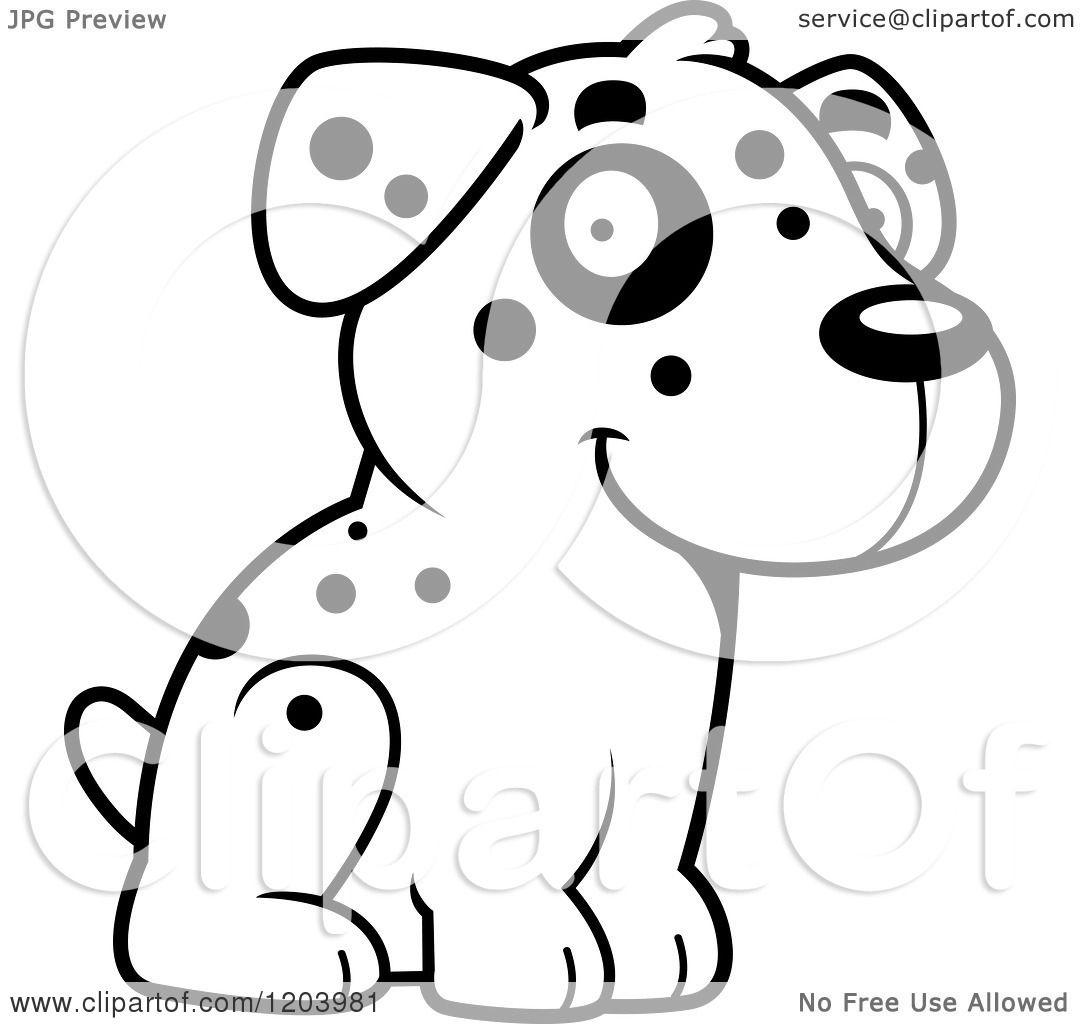 Cartoon Of A Black And White Cute Dalmatian Puppy Sitting